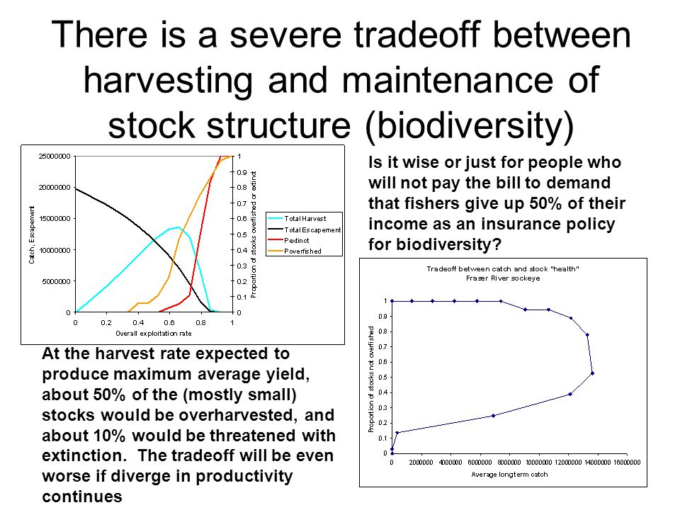There is a severe tradeoff between harvesting and maintenance of stock structure (biodiversity)