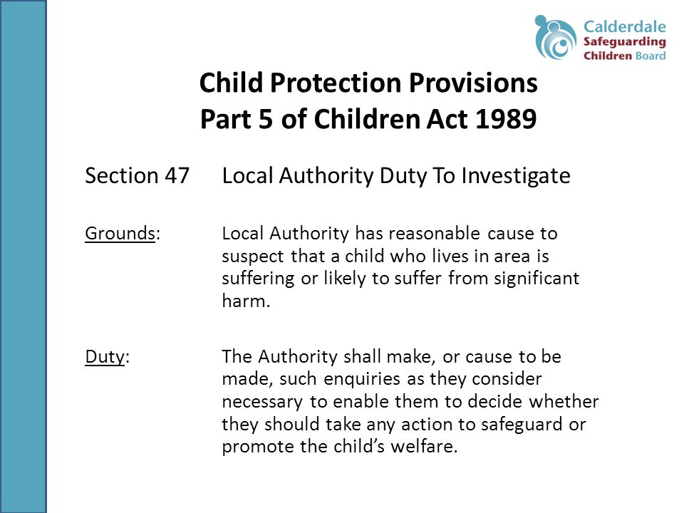 Child Protection Provisions Part 5 of Children Act 1989