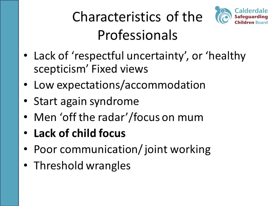 Characteristics of the Professionals