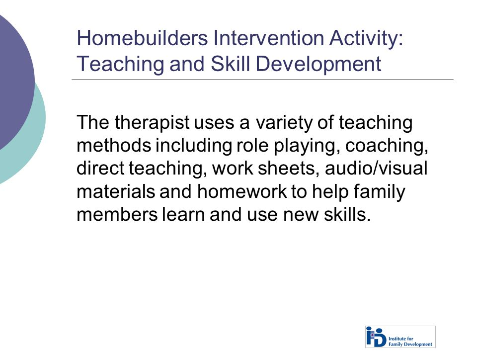 Homebuilders Intervention Activity: Teaching and Skill Development