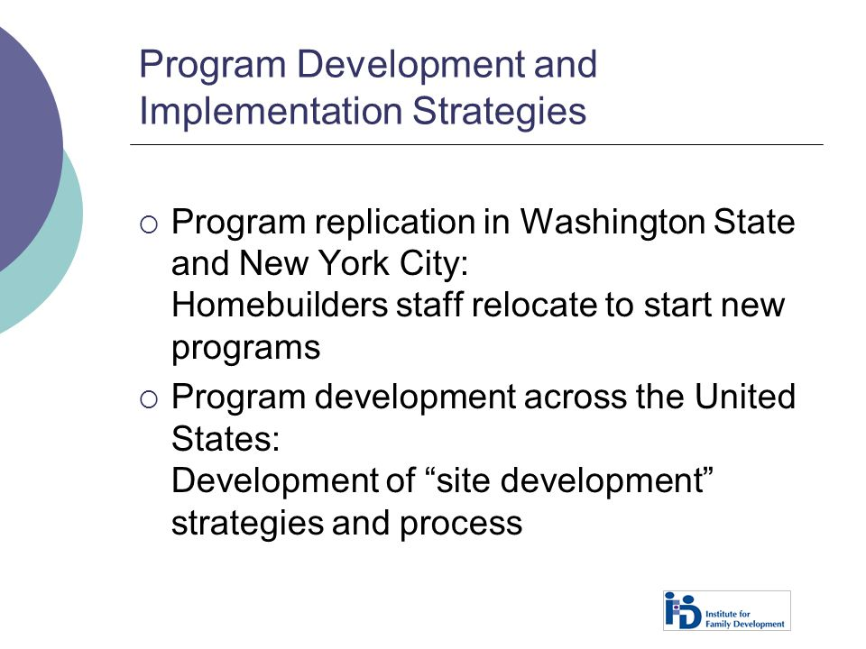 Program Development and Implementation Strategies