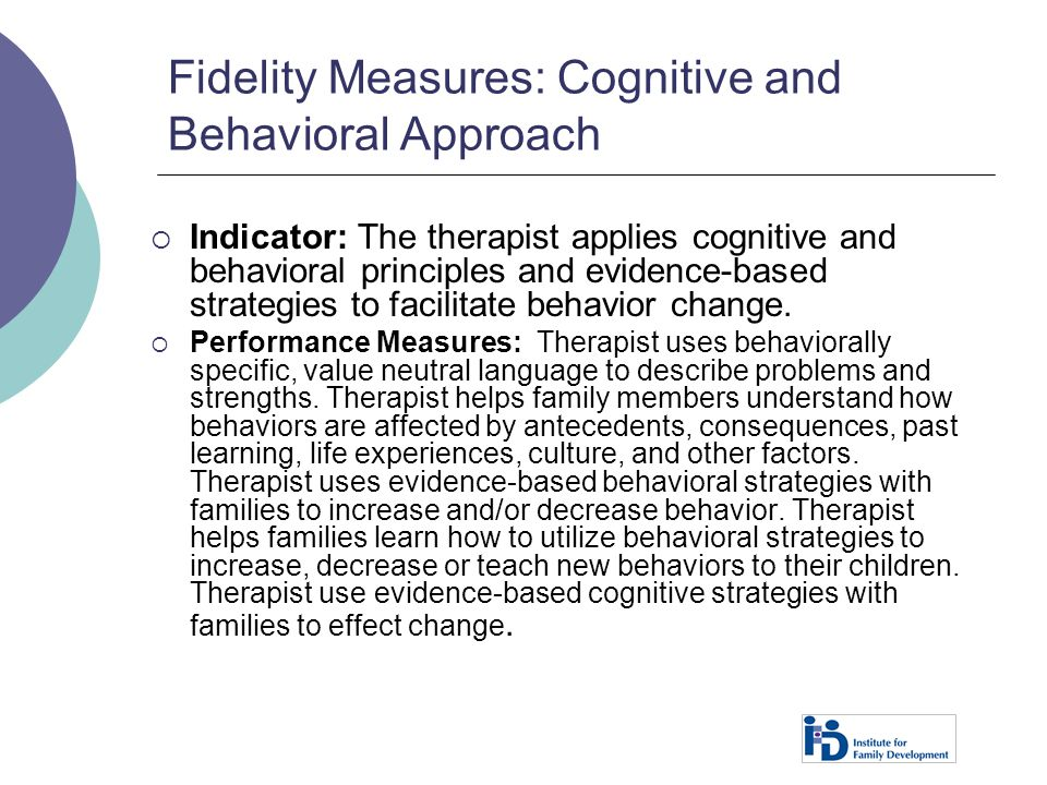 Fidelity Measures: Cognitive and Behavioral Approach