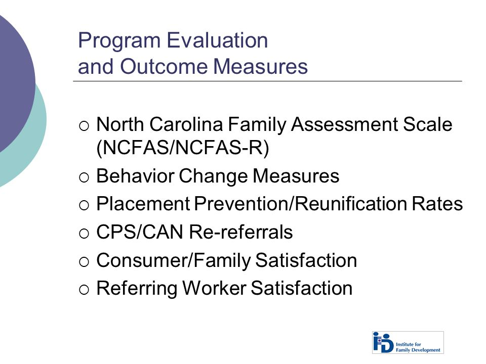 Program Evaluation and Outcome Measures