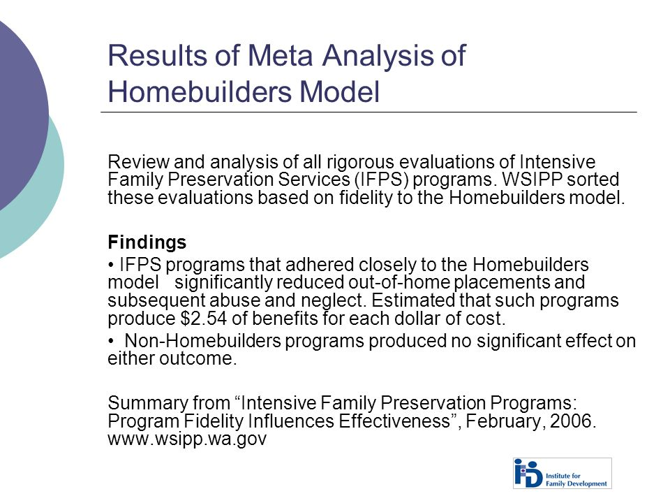 Results of Meta Analysis of Homebuilders Model