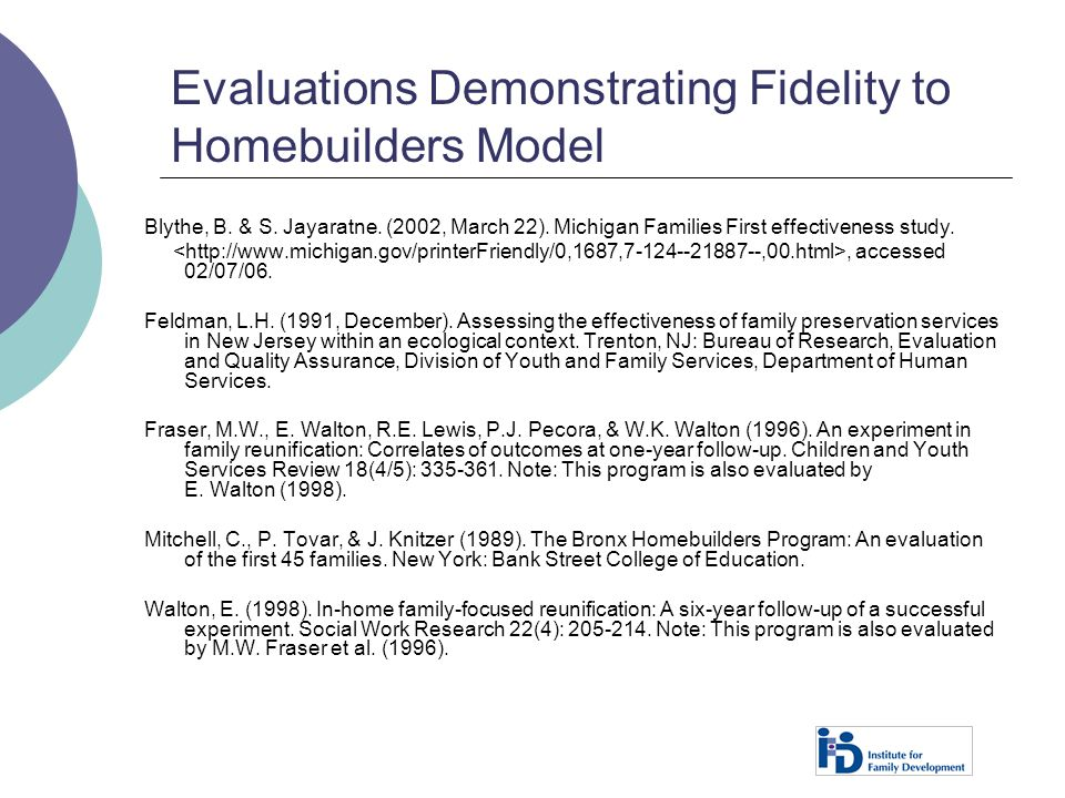 Evaluations Demonstrating Fidelity to Homebuilders Model
