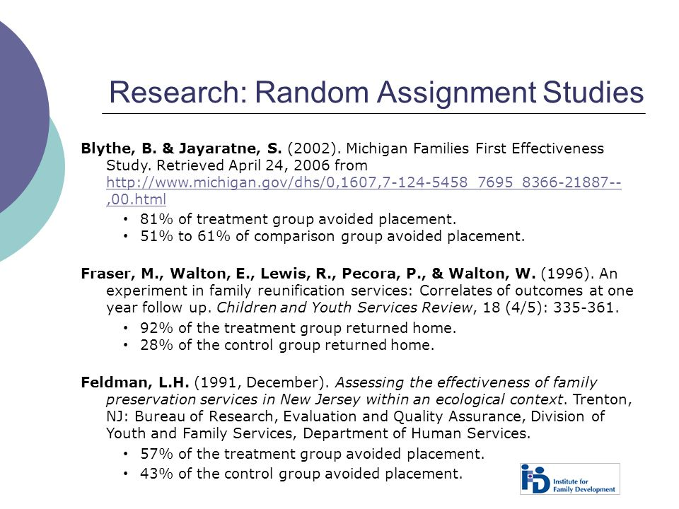 Research: Random Assignment Studies