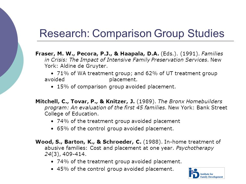 Research: Comparison Group Studies