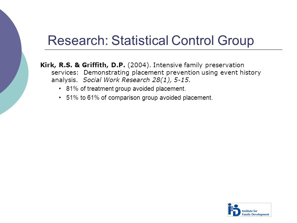 Research: Statistical Control Group