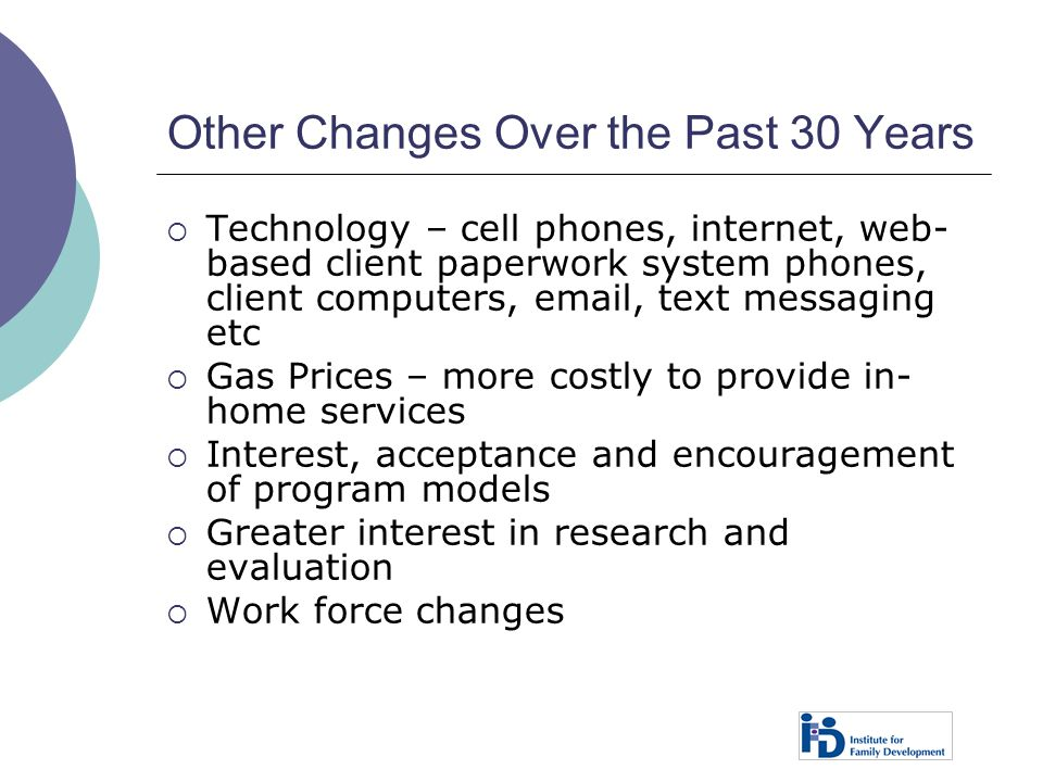 Other Changes Over the Past 30 Years