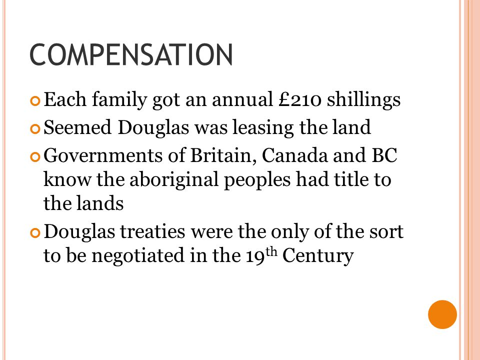 COMPENSATION Each family got an annual £210 shillings