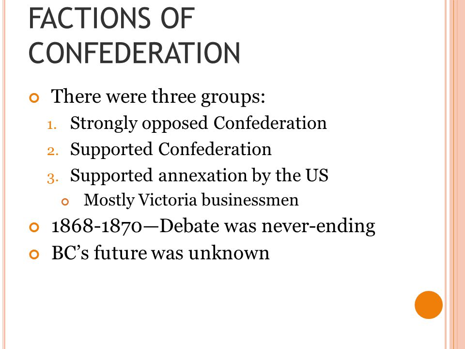 FACTIONS OF CONFEDERATION