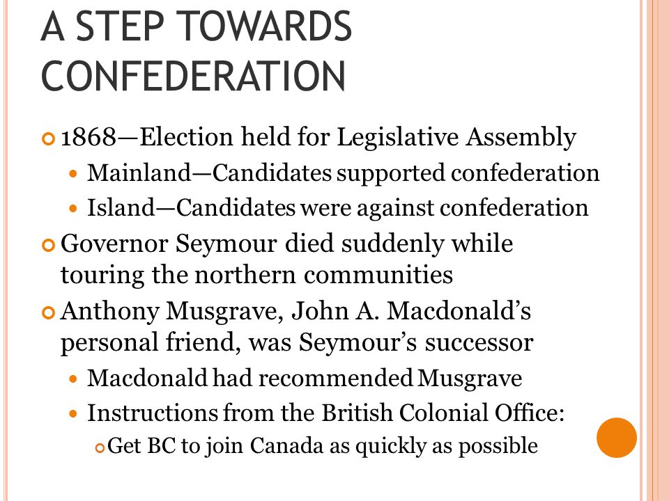 A STEP TOWARDS CONFEDERATION