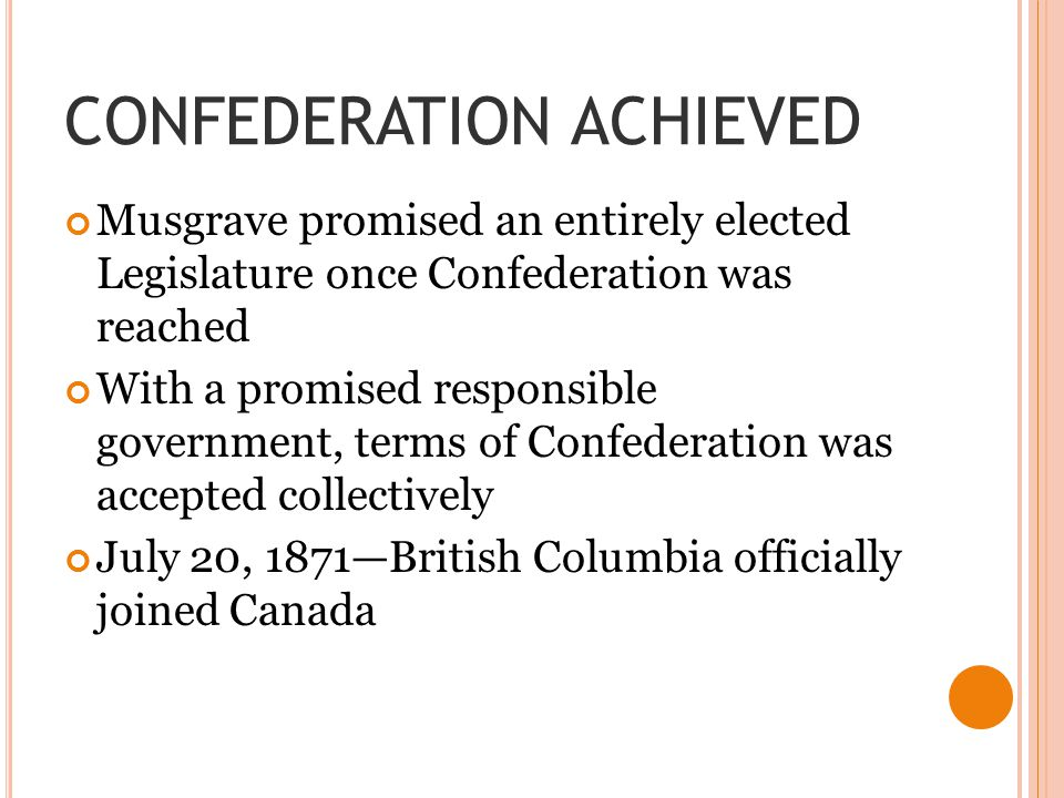 CONFEDERATION ACHIEVED