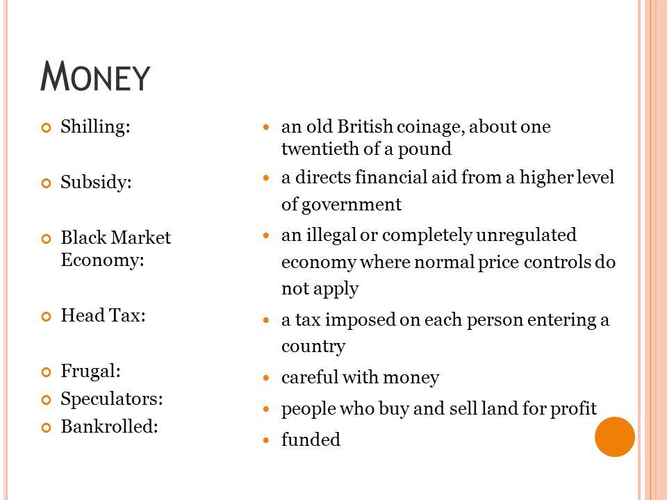 Money Shilling: Subsidy: Black Market Economy: Head Tax: Frugal: