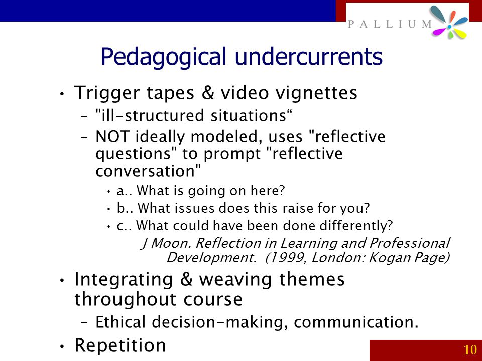 Pedagogical undercurrents