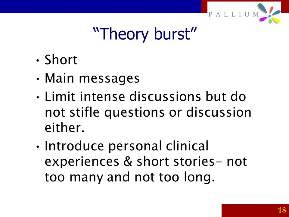 Theory burst Short Main messages