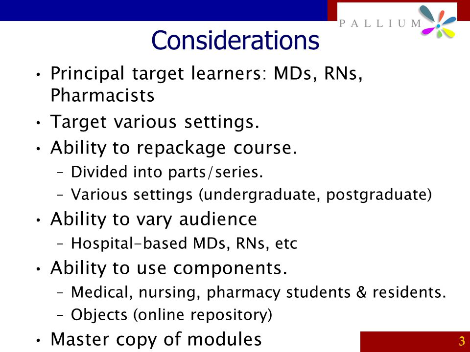 Considerations Principal target learners: MDs, RNs, Pharmacists
