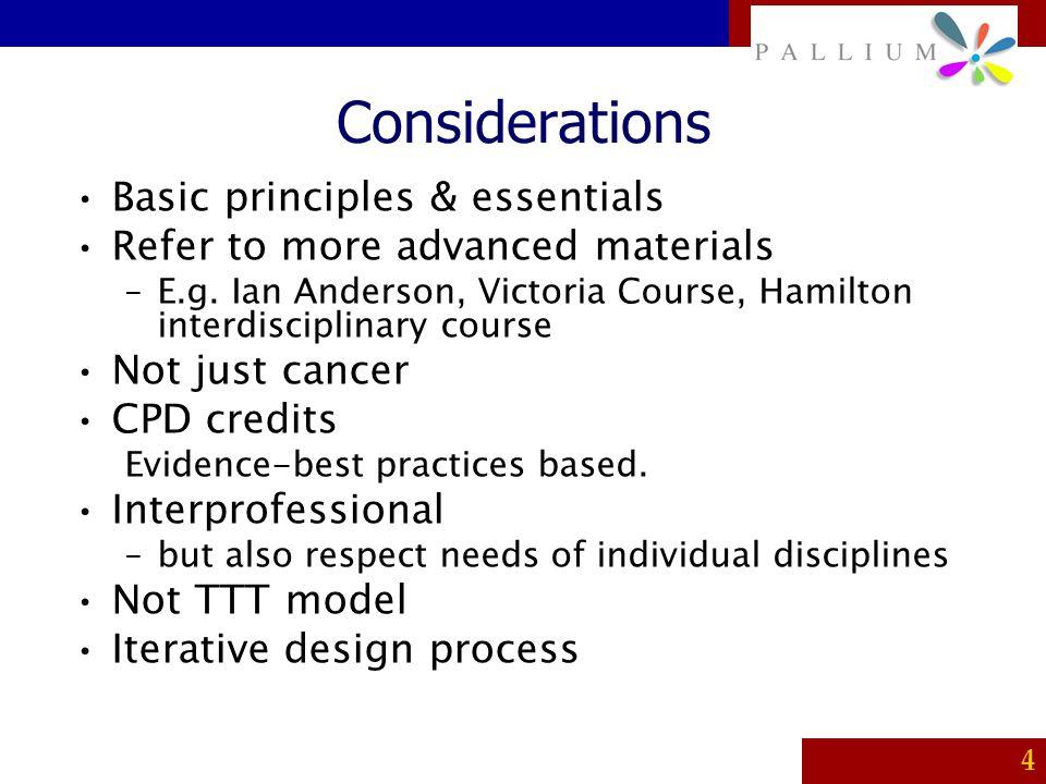 Considerations Basic principles & essentials