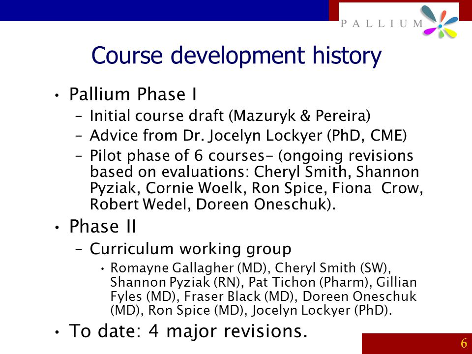 Course development history