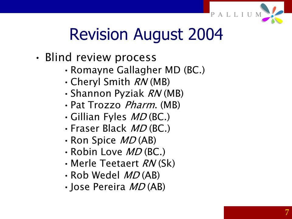 Revision August 2004 Blind review process Romayne Gallagher MD (BC.)