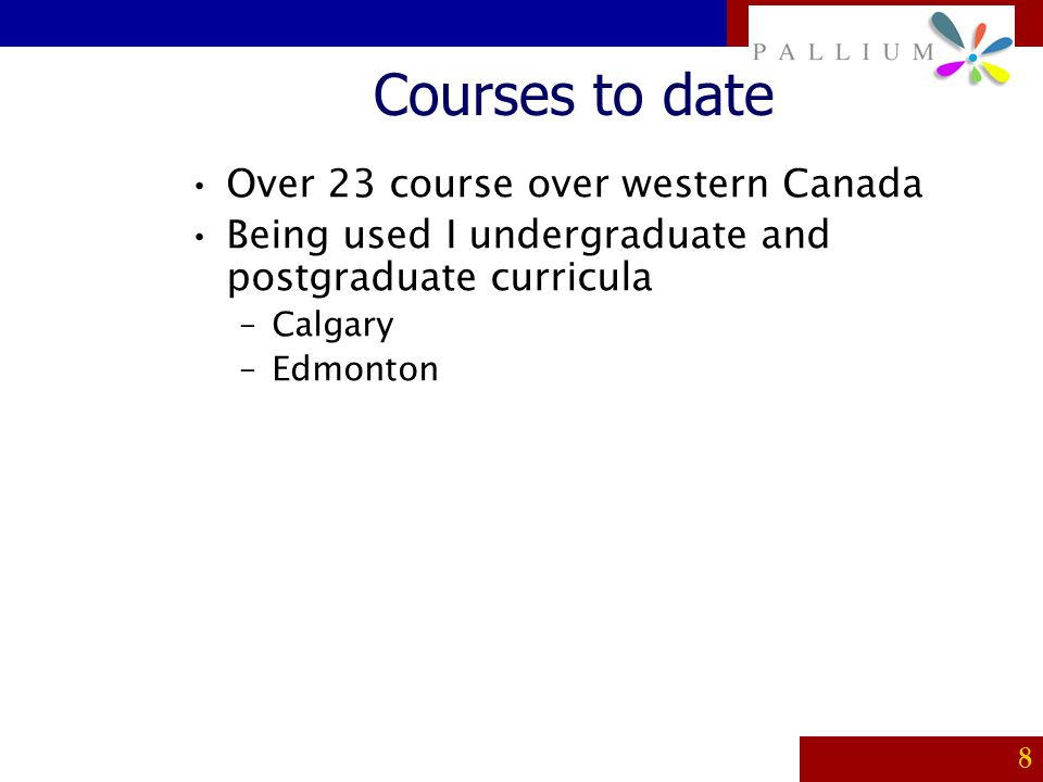 Courses to date Over 23 course over western Canada