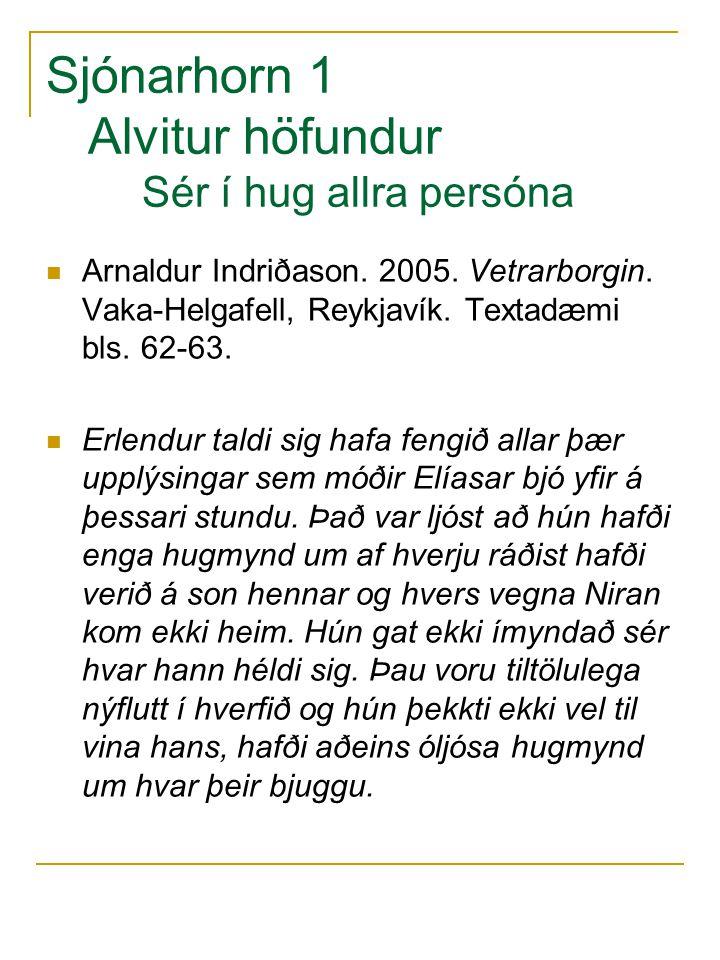 Sjónarhorn 1 Alvitur höfundur Sér í hug allra persóna