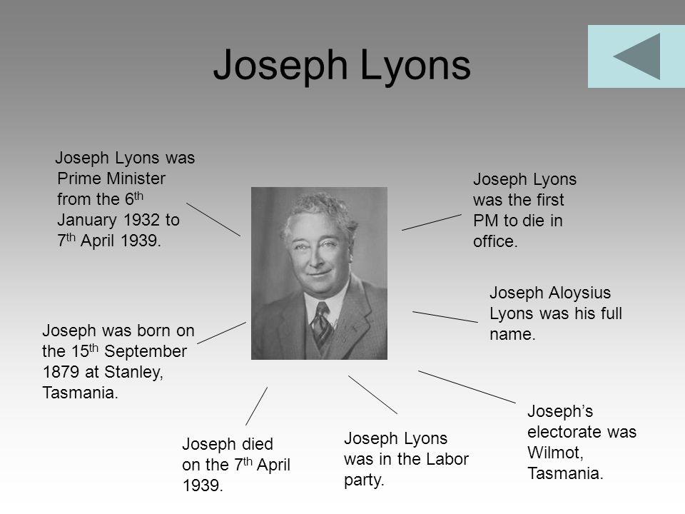 Joseph Lyons Joseph Lyons was Prime Minister from the 6th January 1932 to 7th April 1939. Joseph Lyons was the first PM to die in office.