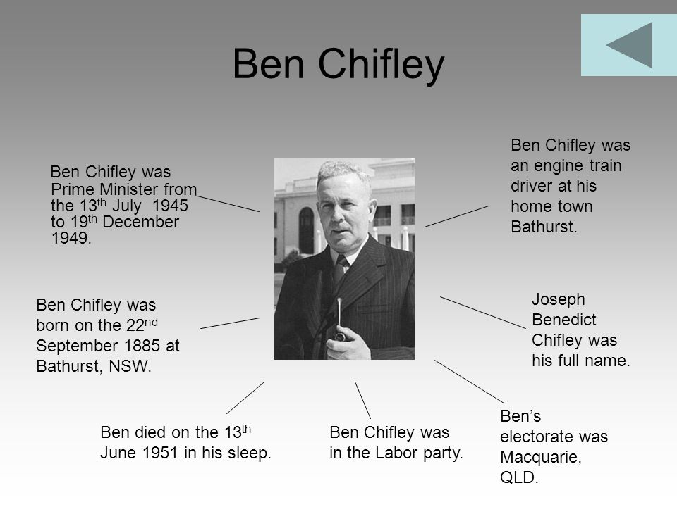 Ben Chifley Ben Chifley was an engine train driver at his home town Bathurst.