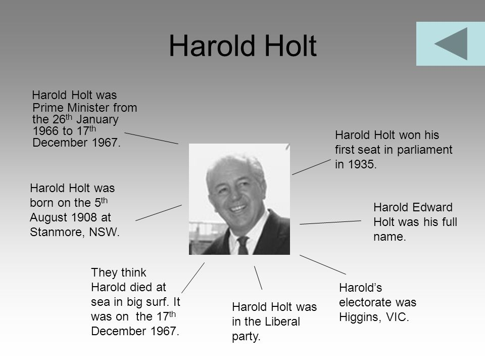 Harold Holt Harold Holt was Prime Minister from the 26th January 1966 to 17th December 1967. Harold Holt won his first seat in parliament in 1935.