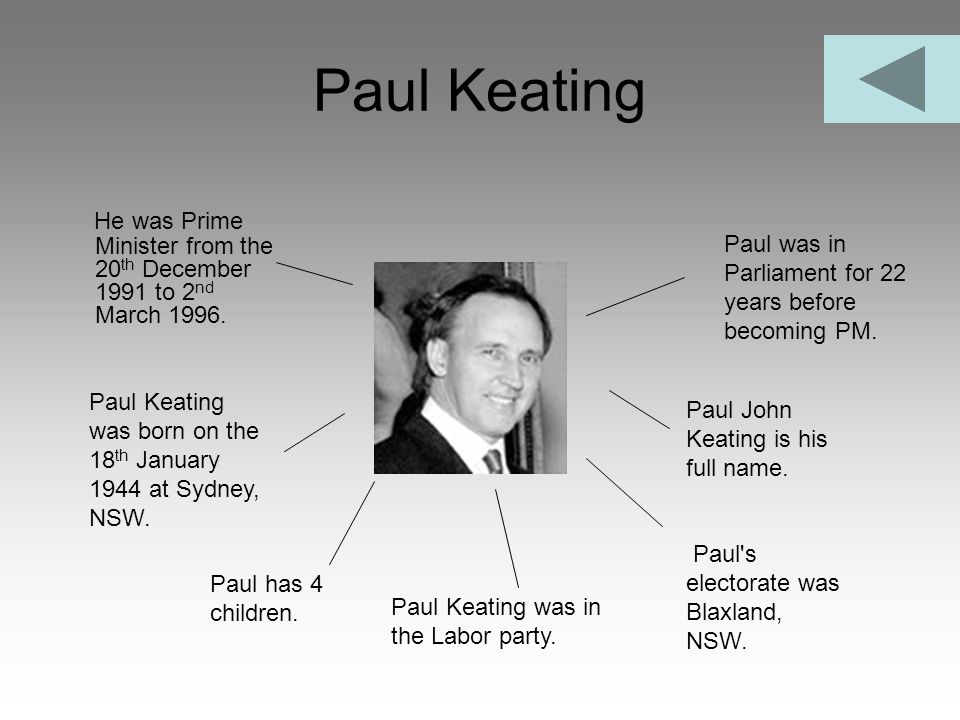 Paul Keating He was Prime Minister from the 20th December 1991 to 2nd March 1996. Paul was in Parliament for 22 years before becoming PM.
