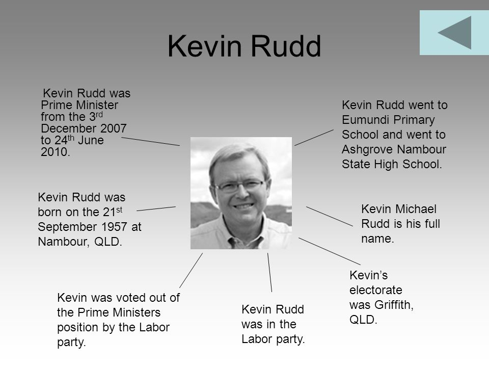 Kevin Rudd Kevin Rudd was Prime Minister from the 3rd December 2007 to 24th June 2010.
