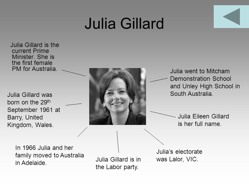 Julia Gillard Julia Gillard is the current Prime Minister. She is the first female PM for Australia.