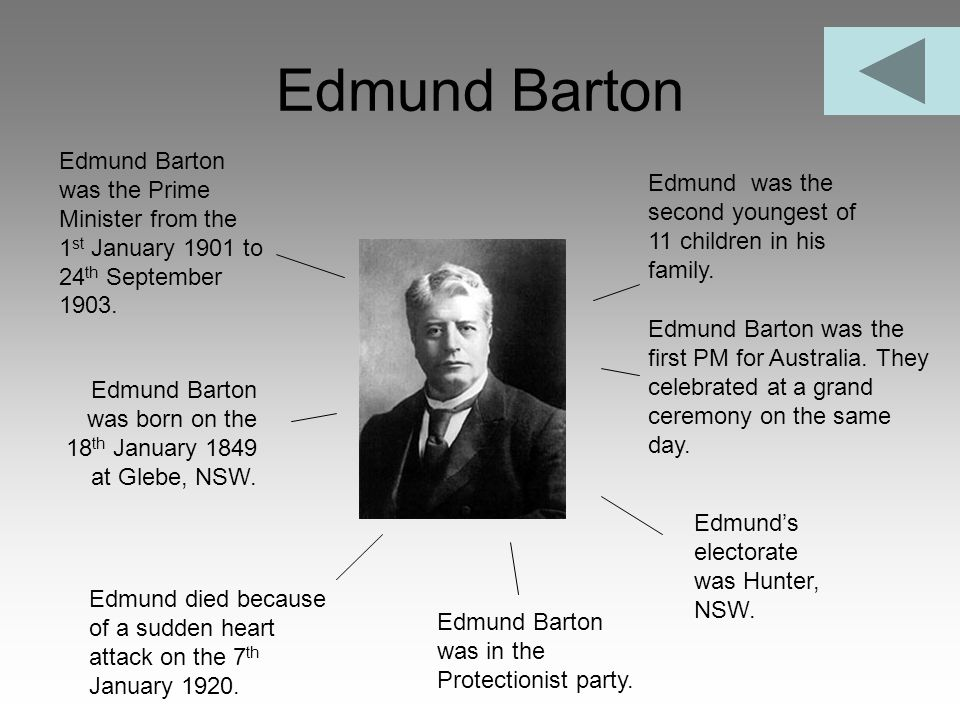 Edmund Barton Edmund Barton was the Prime Minister from the 1st January 1901 to 24th September 1903.