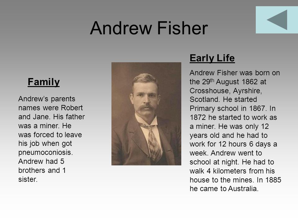 Andrew Fisher Family Early Life