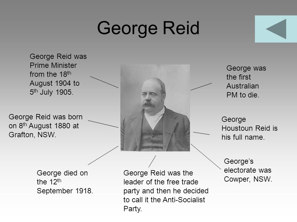 George Reid George Reid was Prime Minister from the 18th August 1904 to 5th July 1905. George was the first Australian PM to die.