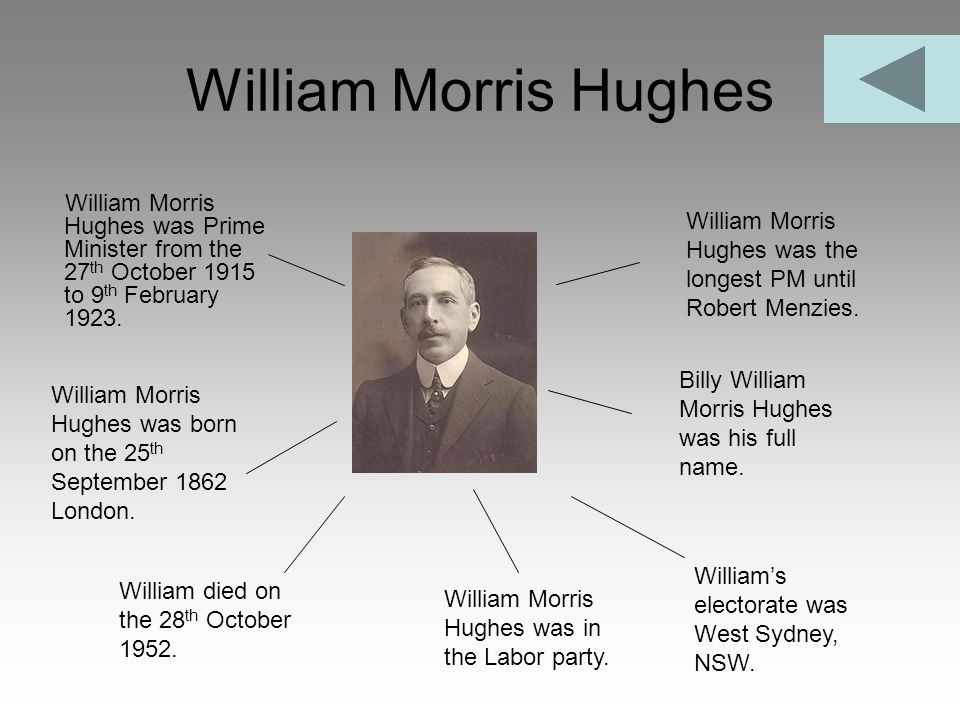 William Morris Hughes William Morris Hughes was Prime Minister from the 27th October 1915 to 9th February 1923.