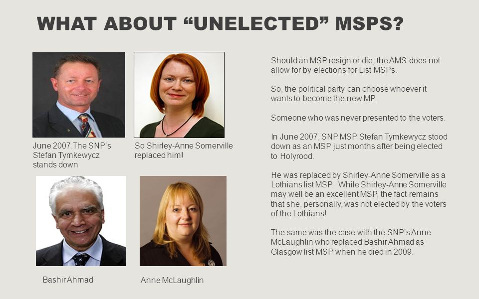 What about Unelected MSPs