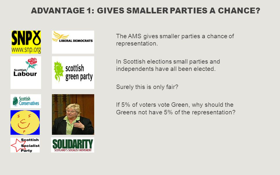 Advantage 1: Gives smaller parties a chance