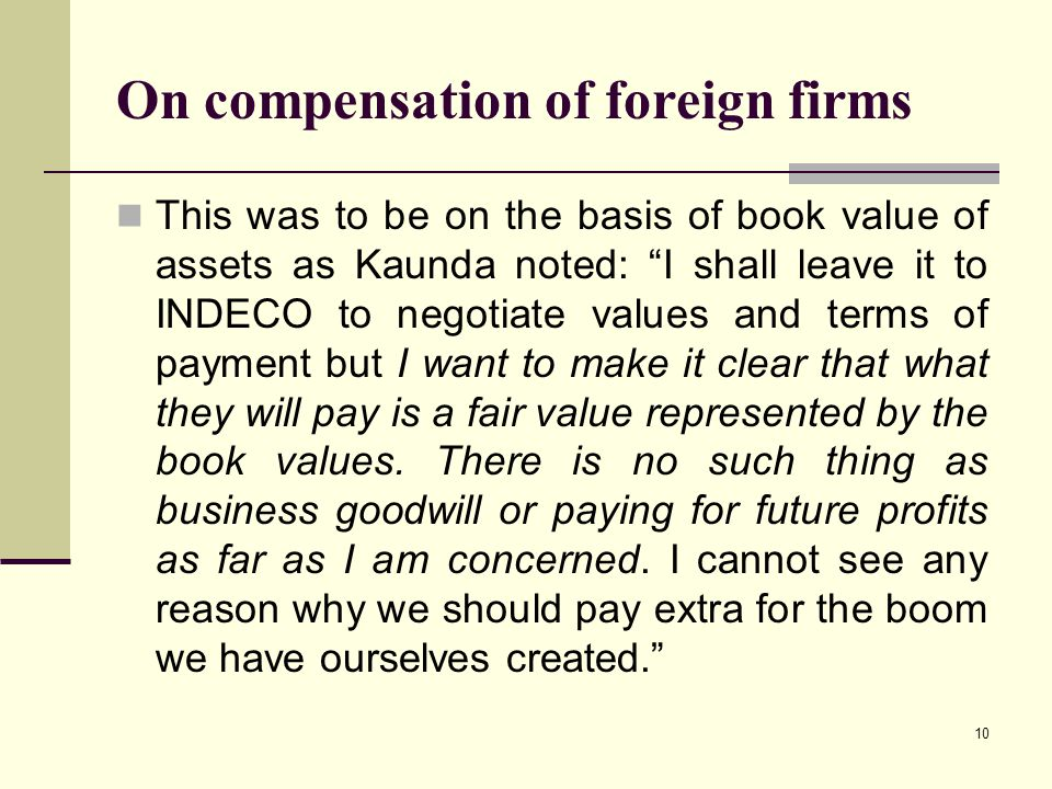 On compensation of foreign firms