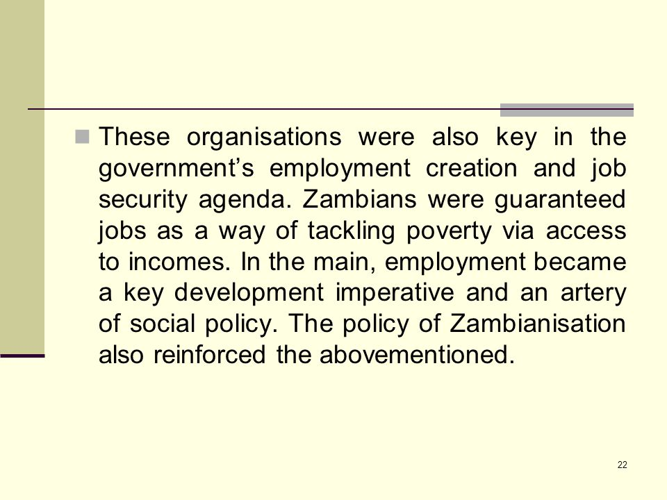 These organisations were also key in the government's employment creation and job security agenda.
