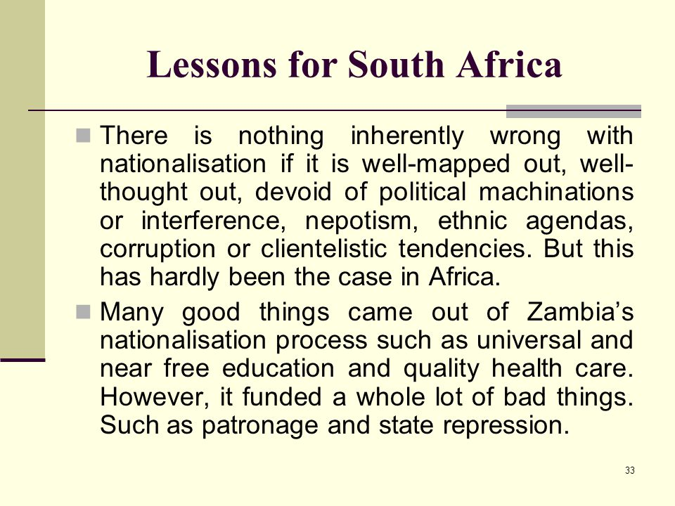 Lessons for South Africa