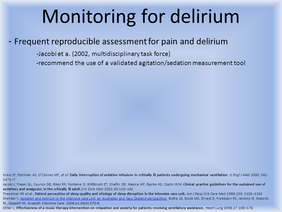 Monitoring for delirium