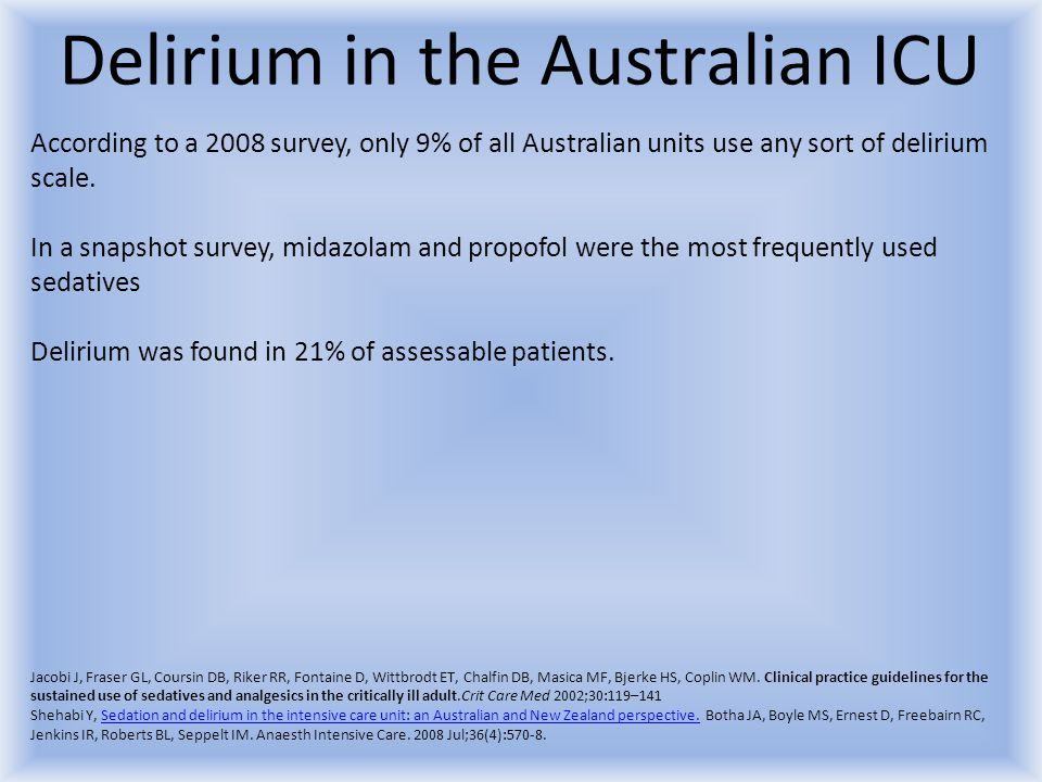 Delirium in the Australian ICU