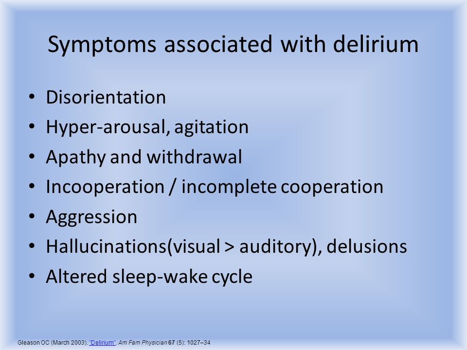 Symptoms associated with delirium