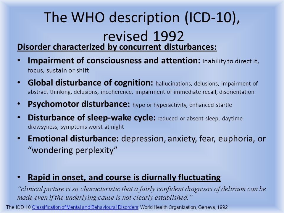 The WHO description (ICD-10), revised 1992