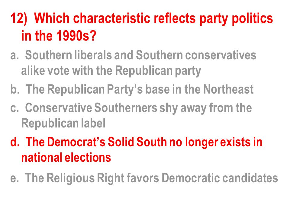 12) Which characteristic reflects party politics in the 1990s