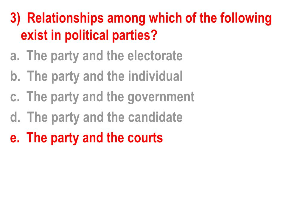 3) Relationships among which of the following exist in political parties.