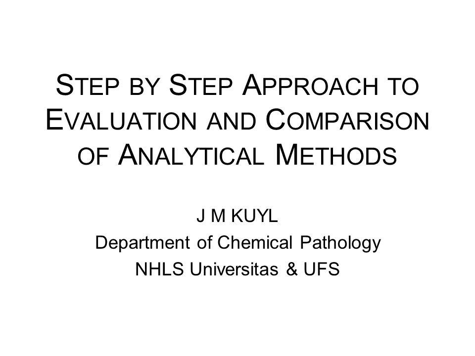 J M KUYL Department of Chemical Pathology NHLS Universitas & UFS