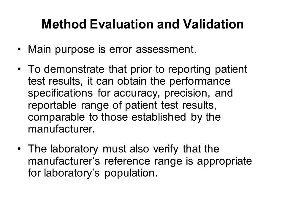 Method Evaluation and Validation