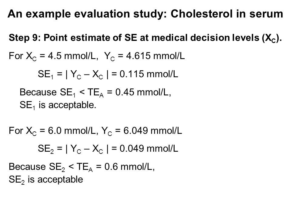 An example evaluation study: Cholesterol in serum